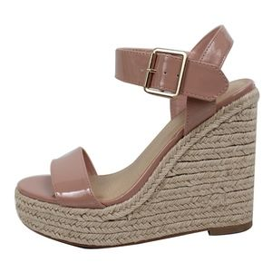 Shoes - Mauve Open Toe Ankle Strap Espadrille Wedge